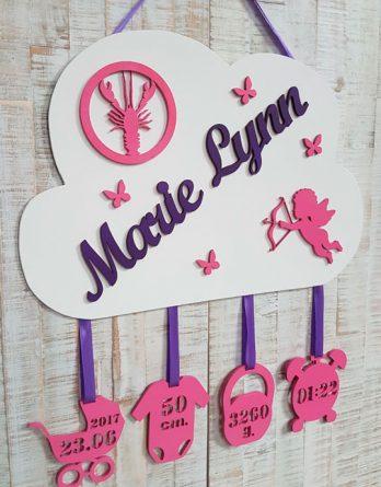 Geburtslegende Wolke MarieLynn mit Wunschname und 4 Anhängern aus 4mm Holz