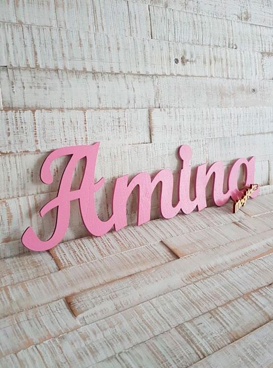 Schriftzug, Wunschname Amina