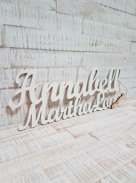 Doppelname, Schriftzug aus Holz Annabel Martha