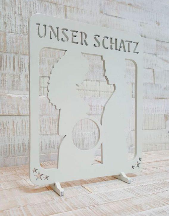 Ultraschall-Bilderrahmen-Unser-Schatz-Weiss
