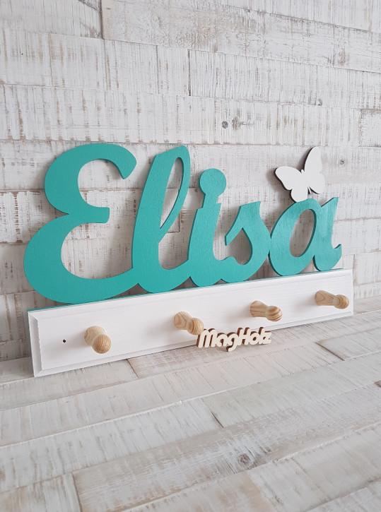 Kindergarderobe aus Holz mit Namen Elisa in Schreibschrift