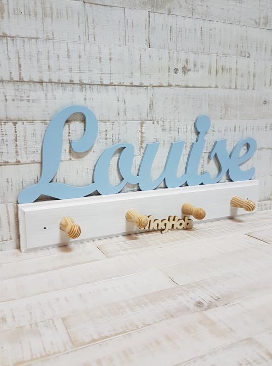 Kindergarderobe aus Holz mit Namen Louise in Schreibschrift